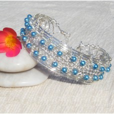 Blue Silver Braided Bracelet