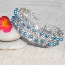 Blue Silver Braided Bracelet