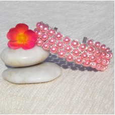 Pretty Pink Pearlescent Beads Bracelet