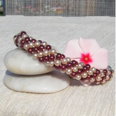 Pearl Effect Beads in Coffee and Cream Colour Spiral Bracelet