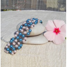 Blue and Pink Pearlescent Bracelet