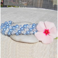 Powder Blue and Clear Spiral Bracelet