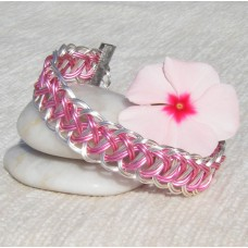 Pink within Silver Roman Pattern Guilloche Bracelet