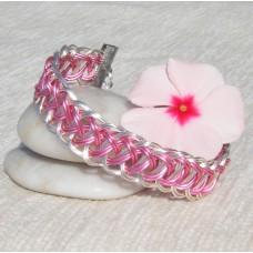 Pink within Silver Roman Pattern Guilloche Bracelet