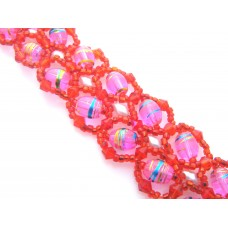 Red and Pink Herringbone Bracelet