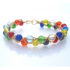 Criss Cross Crackle Glass Bead Bracelet