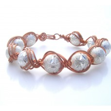 Silver Beaded Copper Wrapped Bracelet