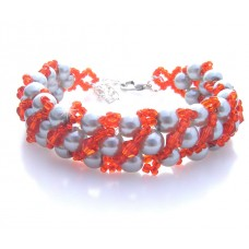 Silver Grey and Red Stripe Beaded Bracelet