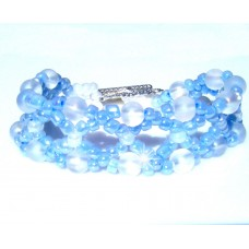 Powder Blue or Pink and Frosted Beaded Bracelet