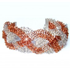 Copper and Silver Macrame Wire Wrapped Bracelet
