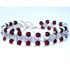 Bronze Clear and White Beaded Bracelet