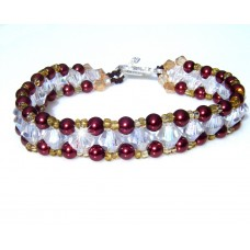 Bronze Clear and Gold Beaded Bracelet