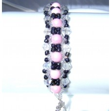 Pink Black and Clear Beaded and Crystal Bracelet