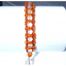 Autumn Fall Colours Frosted Beaded and Crystal Bracelet