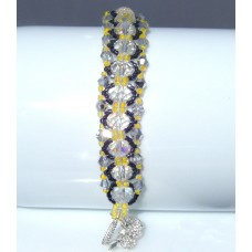 Yellow, Silver, Black and Clear Beaded and Crystal Bracelet