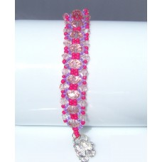 Pink Champagne and Purple Beaded and Crystal Bracelet