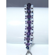 Deep Purple and White Beaded and Crystal Bracelet