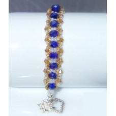 Royal Purple and Gold Beaded and Crystal Bracelet