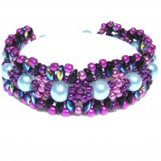 Metallic Purple Pink and Blue Beaded Bracelet