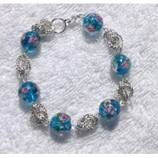 Silver Knot and Blue Lampwork Bead Bracelet