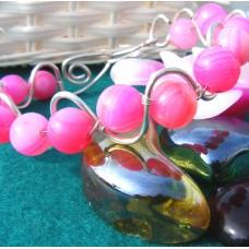 Pink Onyx Semi Precious Stone Bracelet