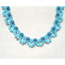Pearlescent Greenish Blues Lacy Necklace