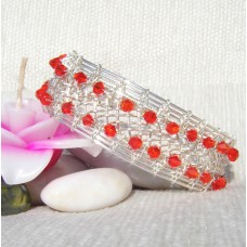 Red Swarovski Crystal Silver Braided Bracelet