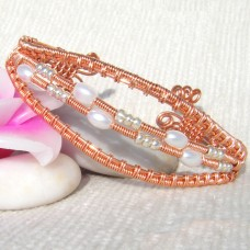 Copper and Pearl Cuff Bracelet