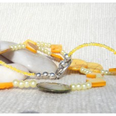 Yellow and Green Mother of Pearl Necklace