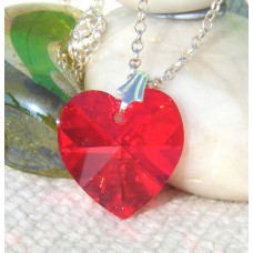 Swarovski Crystal Heart on Sterling Silver Chain - choice of colour