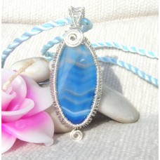 Blue Veined Agate Wire Wrap Pendant