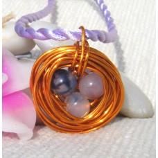 Birds Nest Coated Copper Pendant