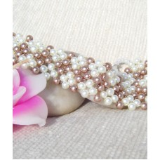 Pretty Brown and White Pearl Beaded Bracelet