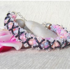 Pastel  Spiral Bracelet with Criss Cross