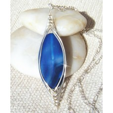 Blue Veined Agate Pendant