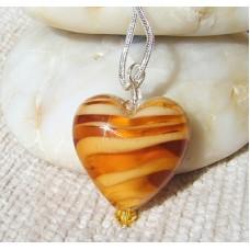 Gold Lampwork Heart Pendant