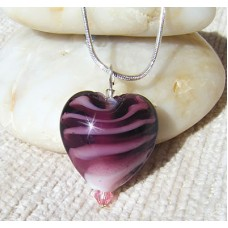 Purple Lampwork Heart Pendant