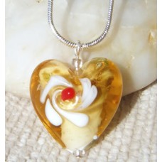 Golden Lampwork Heart Pendant with Flower
