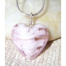 Pink Heart Lampwork Bead Pendant