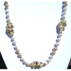 Czech Pearlesce and Lampwork Bead Necklace