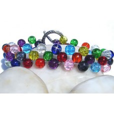 Multi Crackle Glass Criss Cross Bracelet