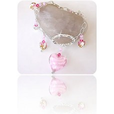 Sterling Silver and Pink Heart Bracelet