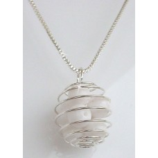 White Glass Bead Caged Pendant