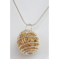 Gold Wire Ball Wrapped Pendant