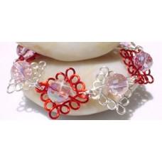 Red and Silver Swarovski Crystal Curly Bracelet
