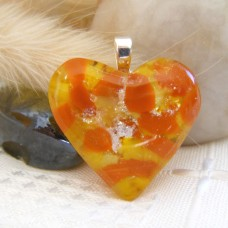 Orange Yellow Silver Heart 3cm x 3cm