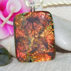 Florentine Flowers Handmade Dichroic Glass Pendant