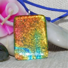 Shimmering Orange Handmade Dichroic Glass Pendant