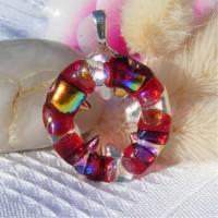 Red Spike Circle Handmade Dichroic Glass Pendant