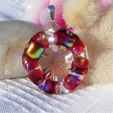 Red Spike Circle Handmade Dichroic Glass Pendant